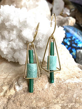 Load image into Gallery viewer, Malachite and Amazonite Brass Earrings second side view