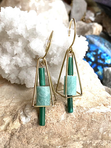 Malachite and Amazonite Brass Earrings second side view