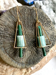 Malachite and Amazonite Brass Earrings front view