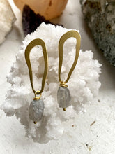 Load image into Gallery viewer, Labradorite Brass Earrings - Full Moon Designs