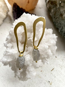 Labradorite Brass Earrings - Full Moon Designs