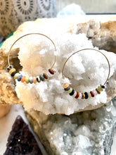 Load image into Gallery viewer, Multicolour Goldfilled Hoops. Handmade by Full Moon Designs