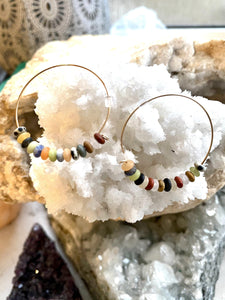 Multicolour Goldfilled Hoops. Handmade by Full Moon Designs