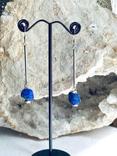 Load image into Gallery viewer, lapis lazuli dangly silver earrings