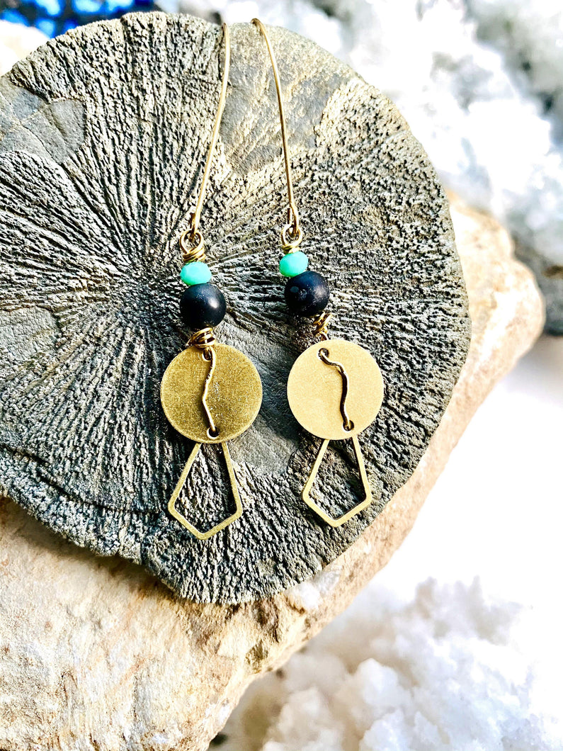 green black and brass earrings handmade by full moon designs