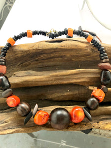 Wood and Orange Sea bamboo Choker - Full Moon Designs