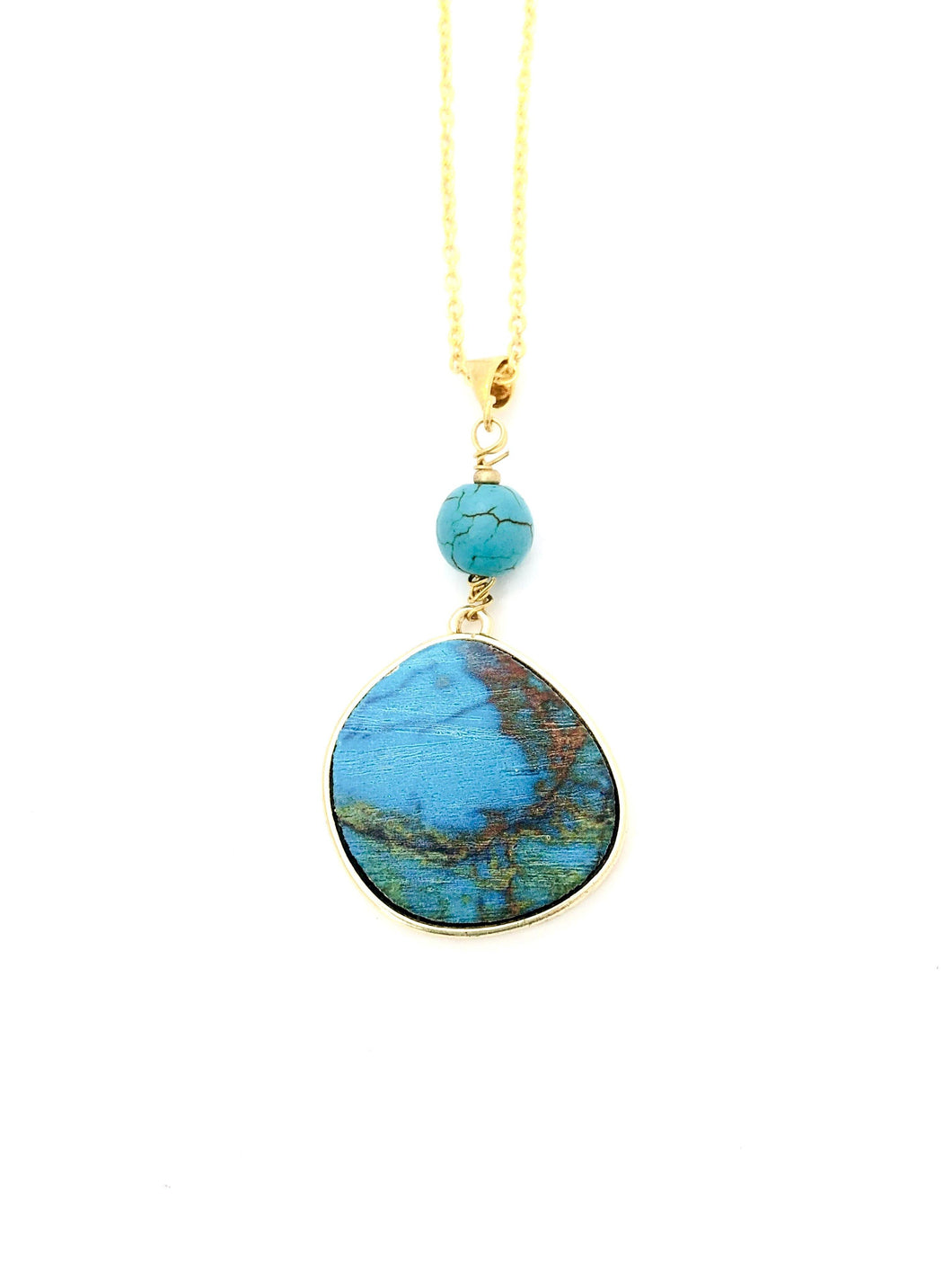 Blue Wood Gold Pendant with a Turquoise Stone - Full Moon Designs