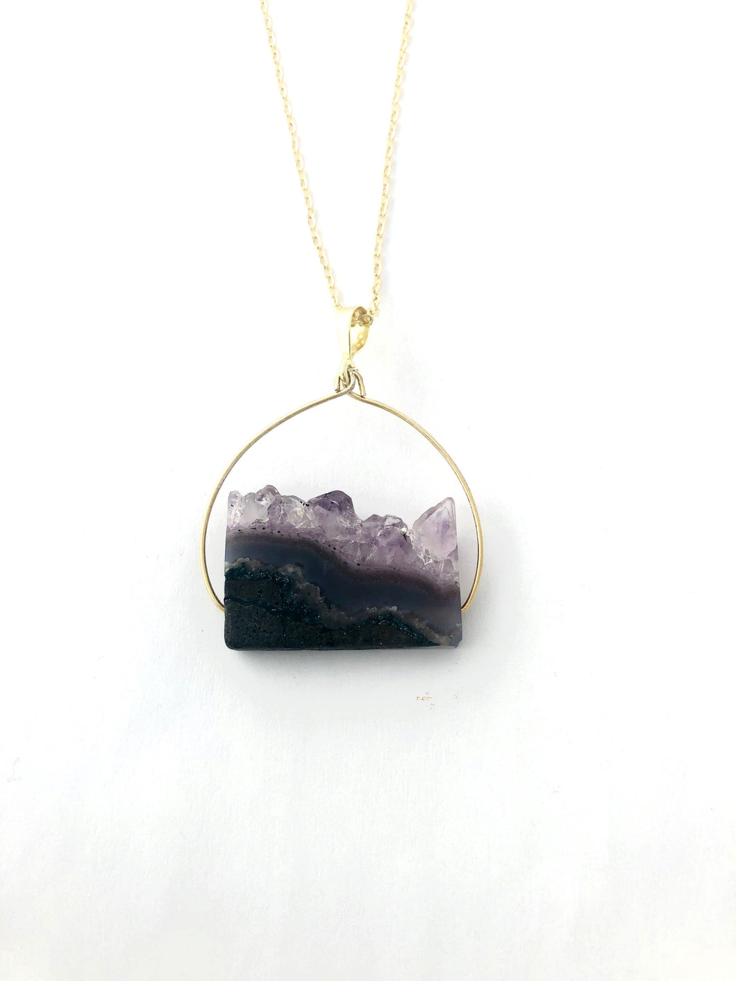Amethyst Pendant Necklace - Full Moon Designs