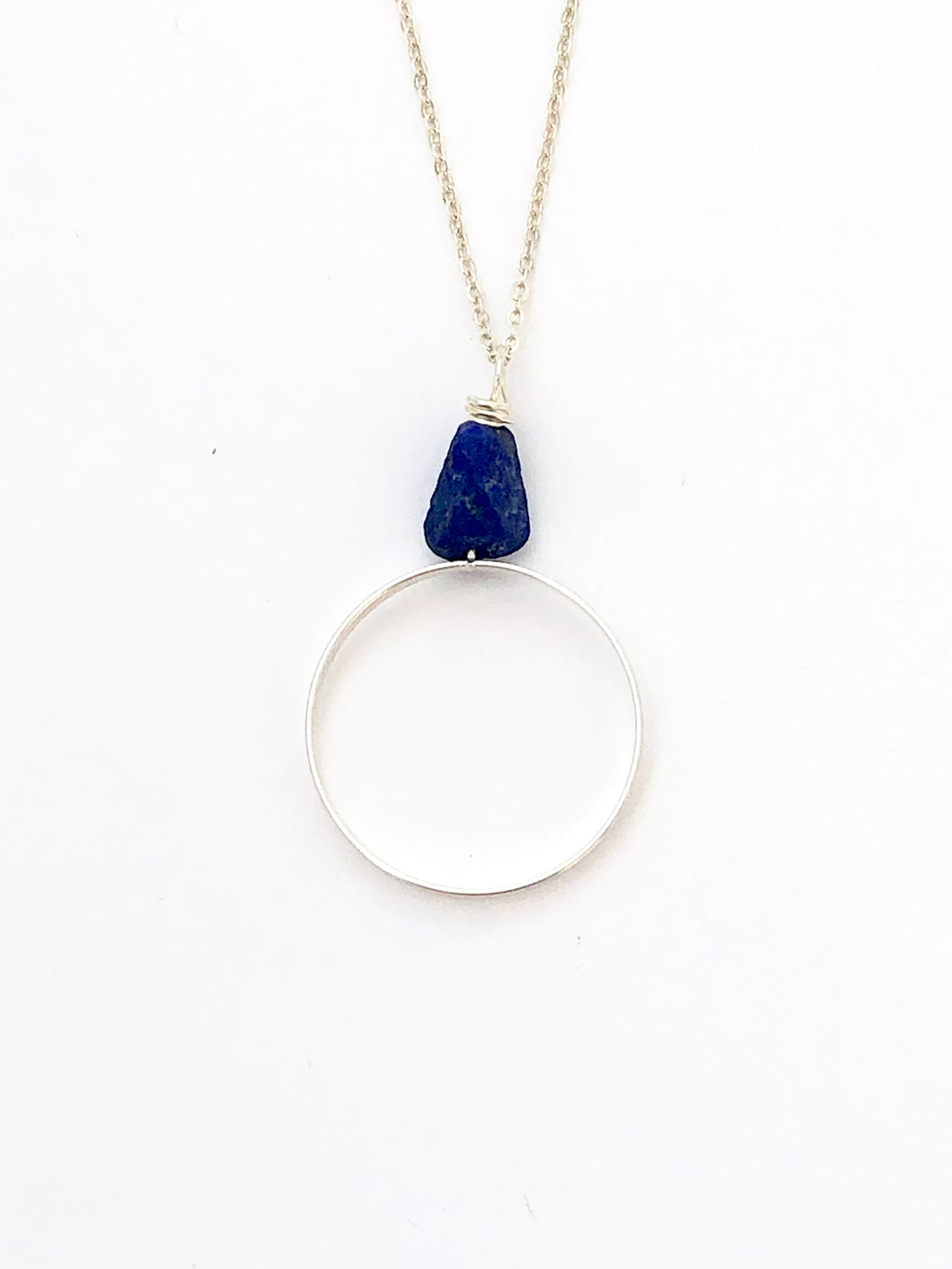 Lapis Lazuli Sterling Silver Pendant - Full Moon Designs
