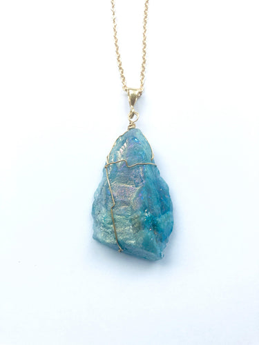 Aqua Quartz (Blue) Gold Necklace - Full Moon Designs