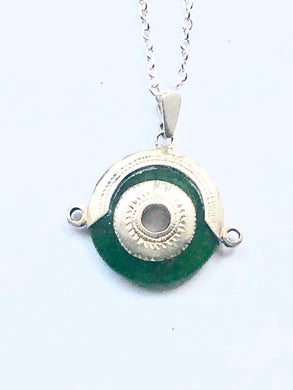 Serpentine Sterling Silver Pendant Necklace - Full Moon Designs
