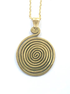 Brass Spiral Pendant Necklace - Full Moon Designs