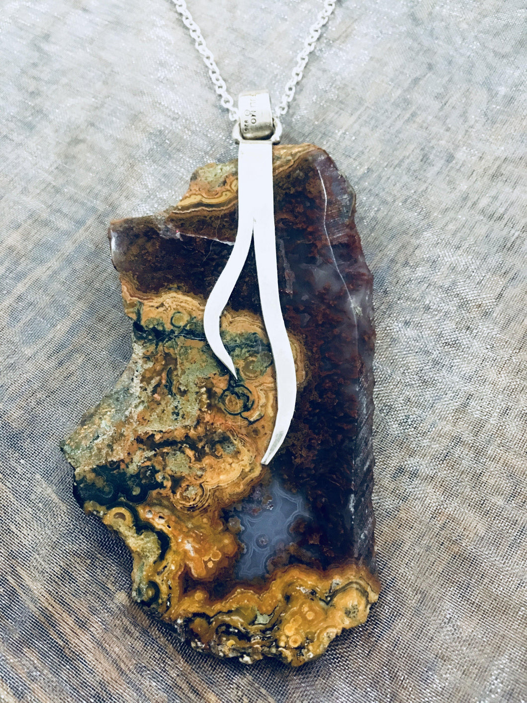 Agate (natural) Multi Colour Sterling Silver Pendant Necklace - Full Moon Designs