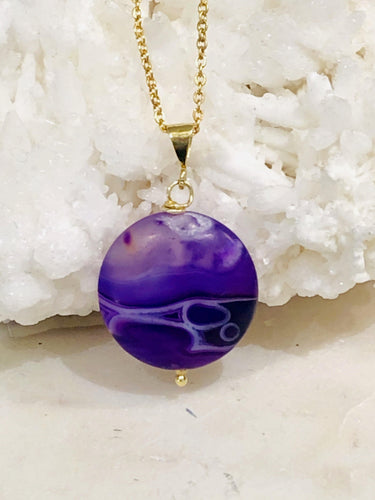 Agate (Purple) Gold Necklace - Full Moon Designs