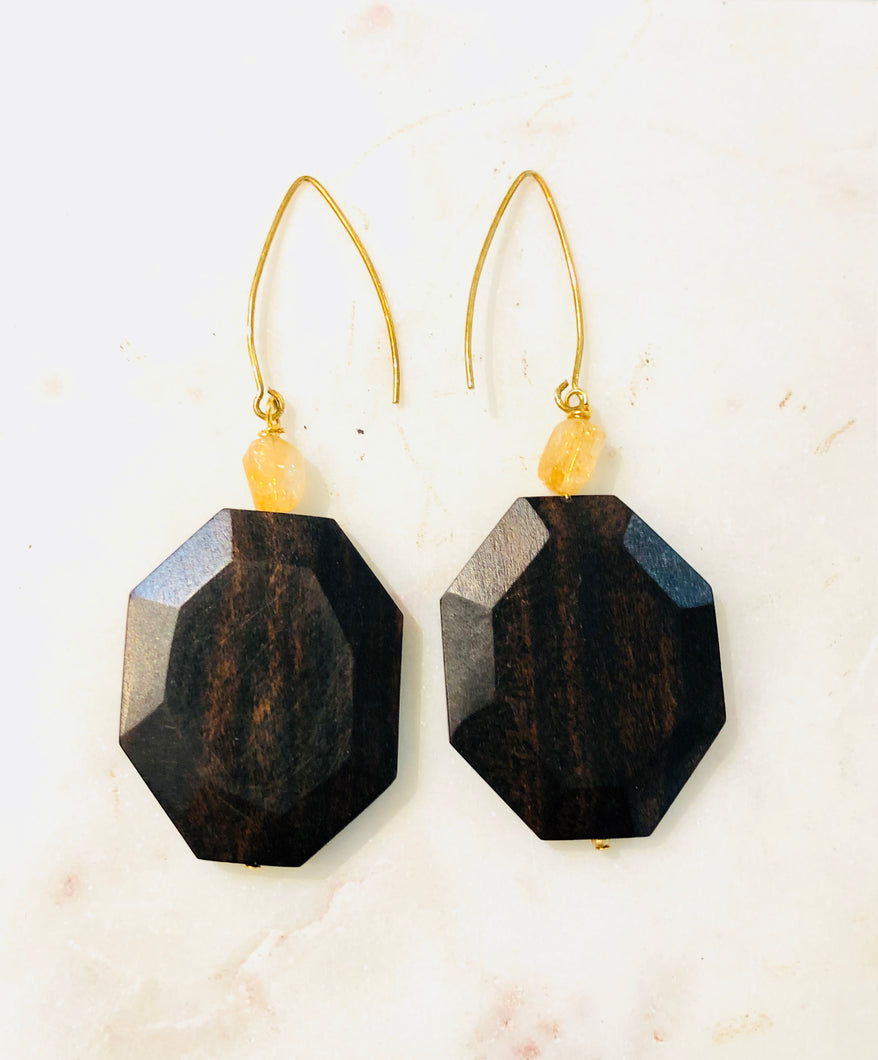 Wood and Citrine Gold on Silver Earrings - Full Moon Designs