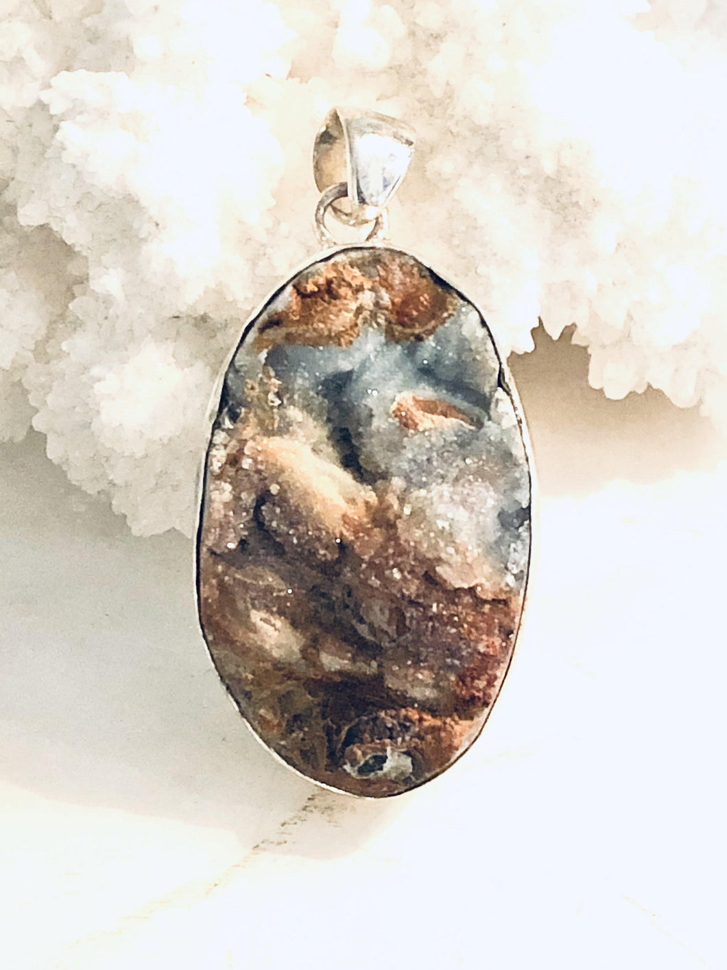 Drusy Agate Sterling Silver Pendant Necklace - Full Moon Designs