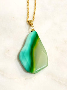 Agate (Green) Gold Necklace - Full Moon Designs