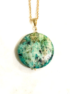Opal (Blue and Green) Gold Necklace - Full Moon Designs
