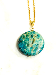 Opal (Blue and Green) Gold on Silver Pendant - Full Moon Designs