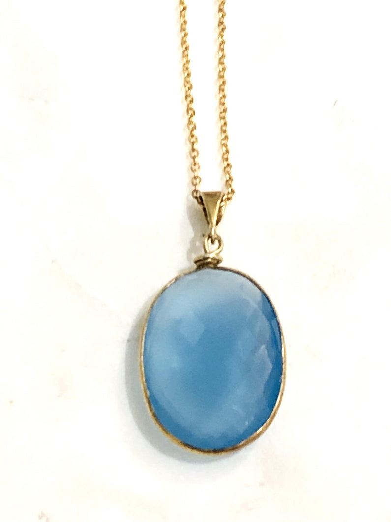 Chalcedony (Blue) Gold Necklace - Full Moon Designs