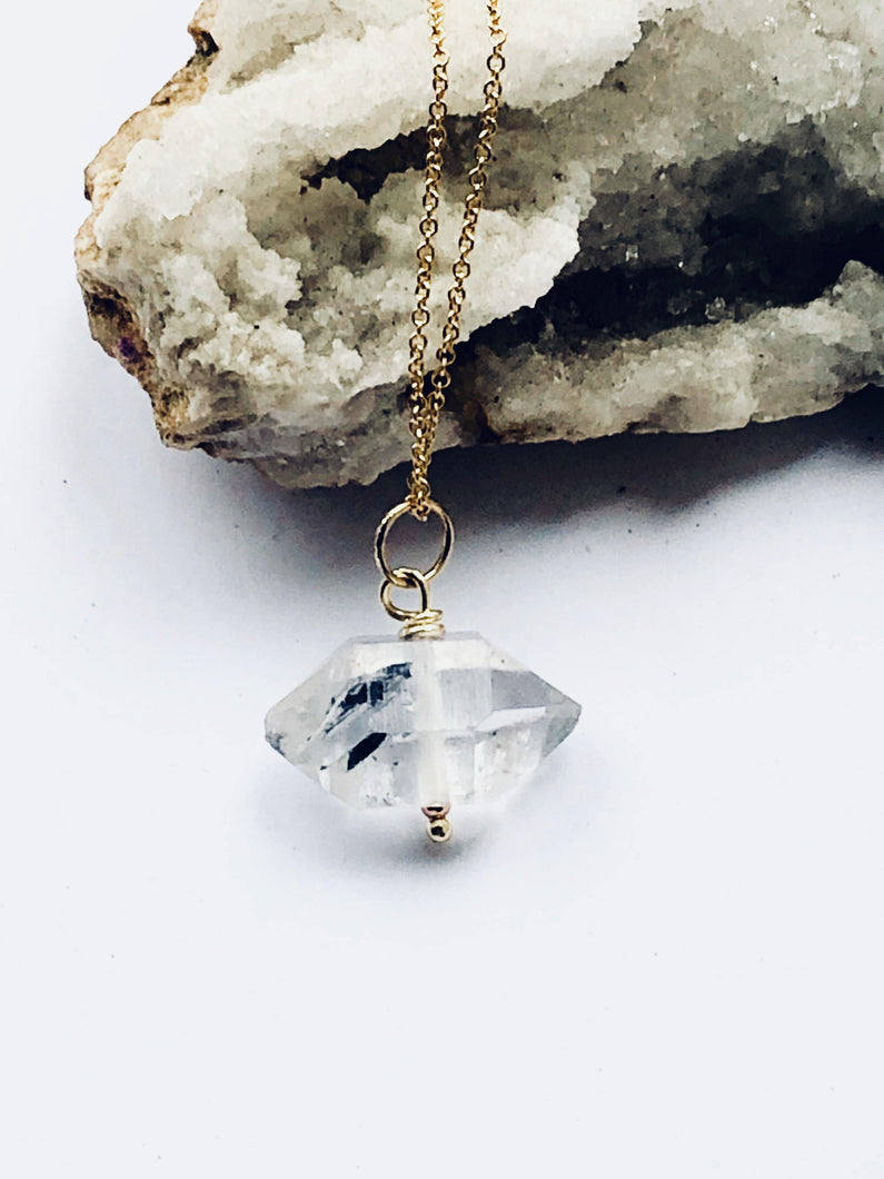 Herkimer Diamond Goldfilled Necklace - Full Moon Designs