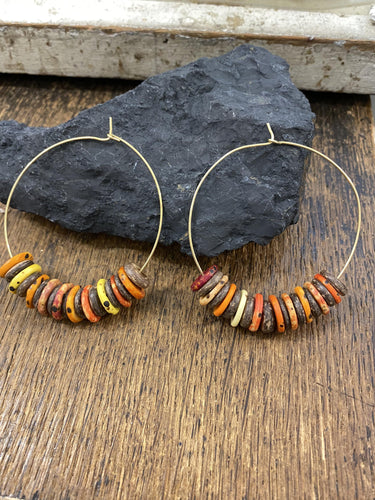 Multicolour Brass Hoops - Full Moon Designs