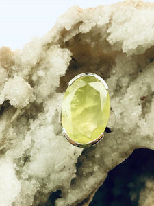 Prehnite (Yellow) Sterling  Silver Ring - Full Moon Designs
