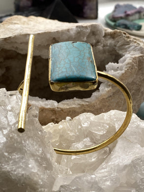 Turquoise Brass Bangle - Full Moon Designs