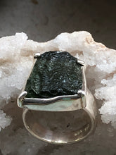 Load image into Gallery viewer, Moldavite Sterling Silver Ring - Full Moon Designs