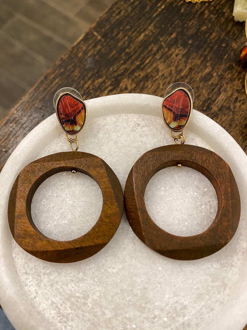 Wood and Gold Earrings - Full Moon Designs