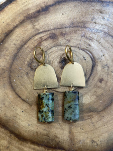 turquoise brass earrings, ethical natural jewellery, handmade by full moon designs,