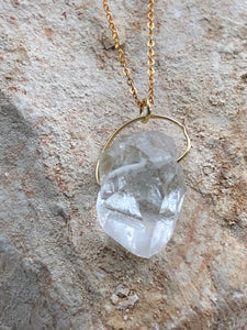 Quartz (Clear) Gold on Silver Pendant - Full Moon Designs