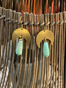 Chrysoprase Brass Earrings