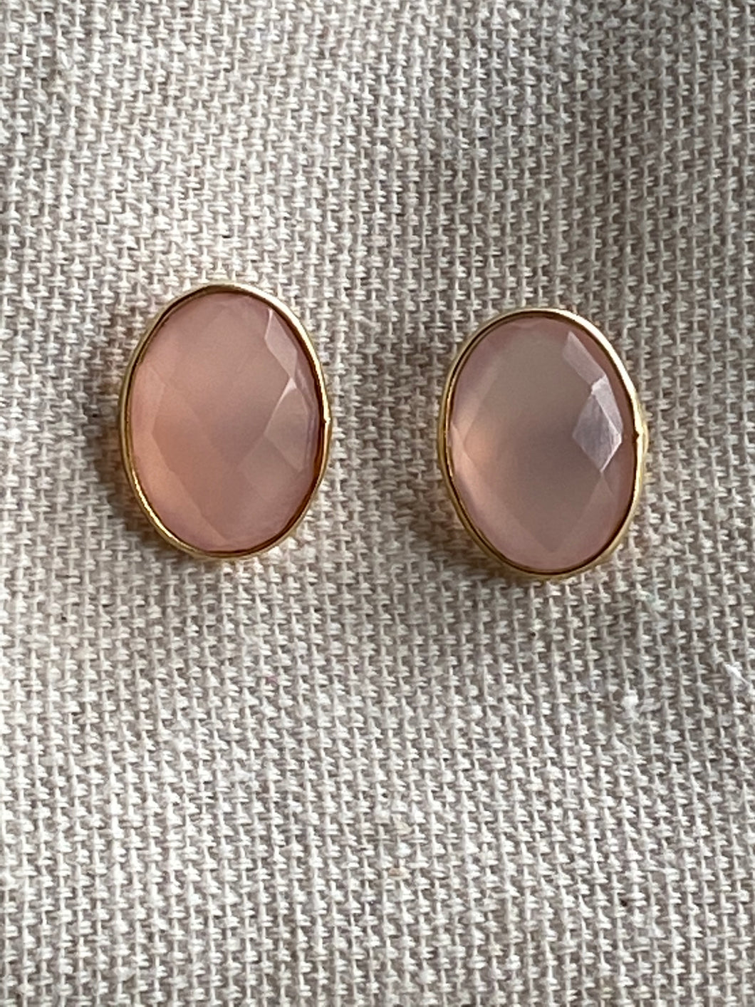 Rose Quartz Gold on Silver Studs - Full Moon Designs