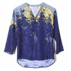 Blue Yellow Floral Printed Shirt