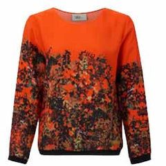 Orange Leaf Silk Printed Top
