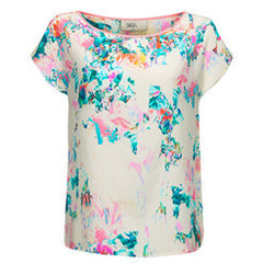 White Floral Silk Top