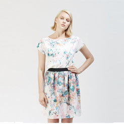 White Floral Silk Skirt