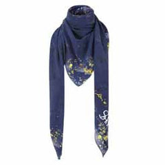 Blue Yellow Floral Silk Scarf