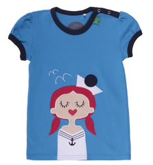green cotton mädchen shirt sailor girl heldenkind