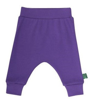 green cotton baby-und kinderhose baggy lila heldenkind