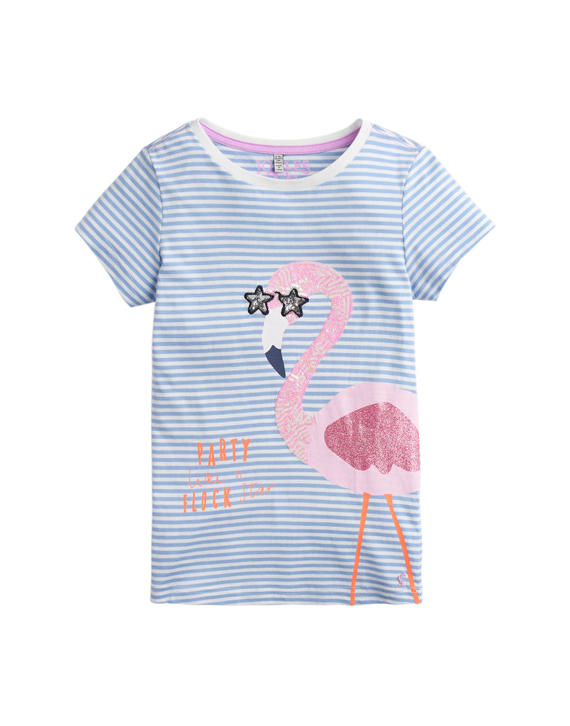 Tom Joules Shirt Blue Stripe Flamingo