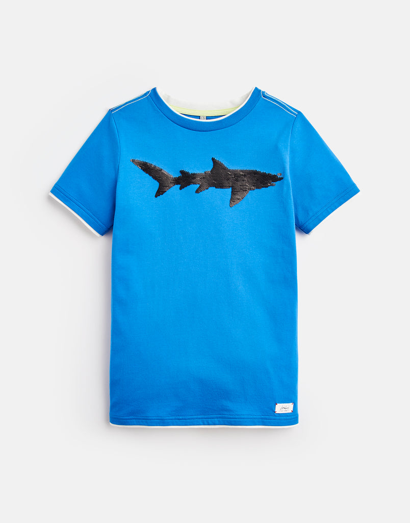 Tom Joule T-Shirt Cullen Blue Shark mit Wendepailletten