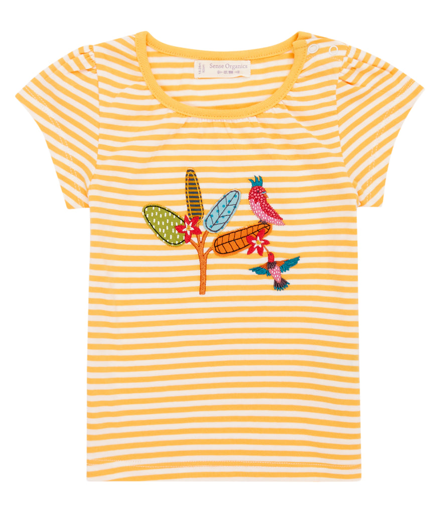 Sense Organics - GADA Shirt  Yellow Stripes - Bird Appliqué