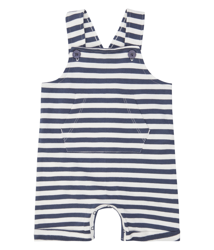 Sense Organics - FABIO Short Sweat Dungarees Navy Stripes
