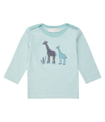 Sense Organics - LUNA Shirt  Light Teal Stripes - Giraffe