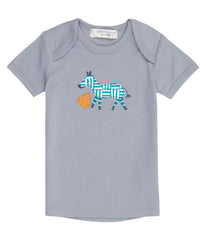Sense Organics - TILLY RETRO Shirt  Dusty Blue - Zebra Appliqué