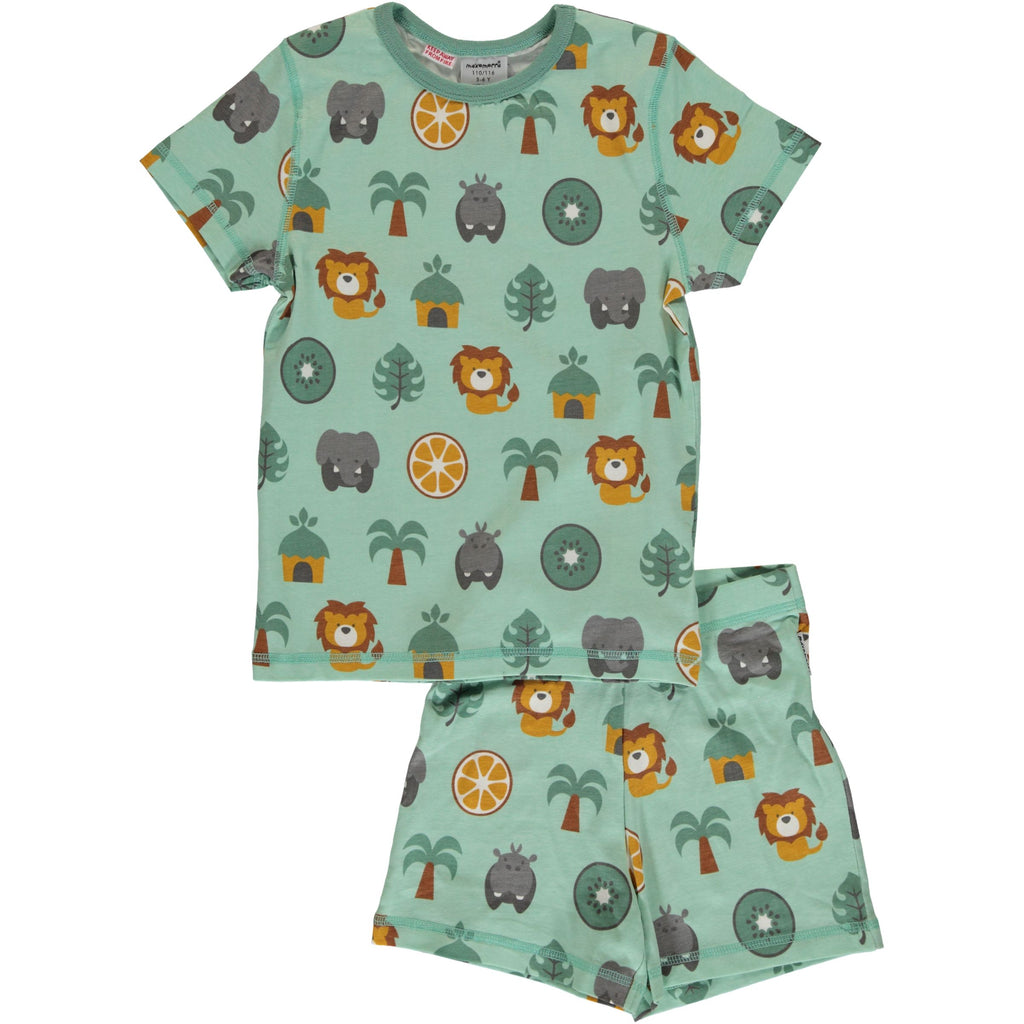 Maxomorra - zweiteiliges Pyjama Set Jungle Kurzarm