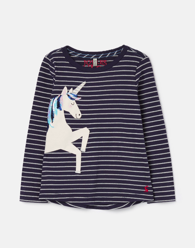Tom Joules Ava Silver Stripe Unicorn Top