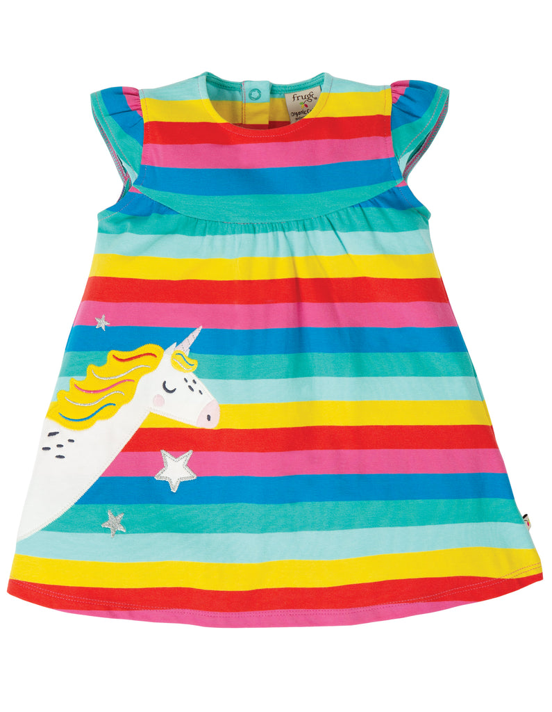 Frugi Flamingo multi Strip Kleid - Little Lola Dress GOTS zertifiziert
